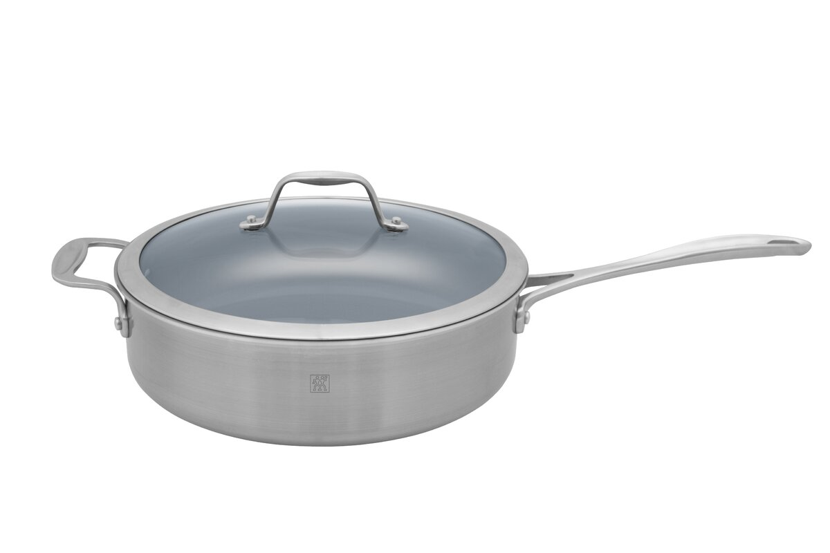 spirit 5 qt stainless steel ceramic nonstick saute pan