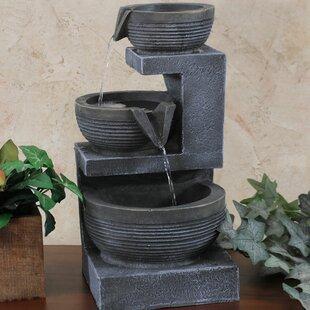 Beau Zimmermann Resin 3 Tier Cascading Basins Tabletop Water Fountain With Light