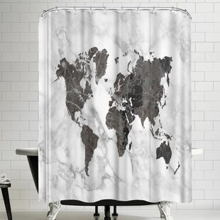 Ikonolexi World Map Art Black And White Marble Single Shower Curtain