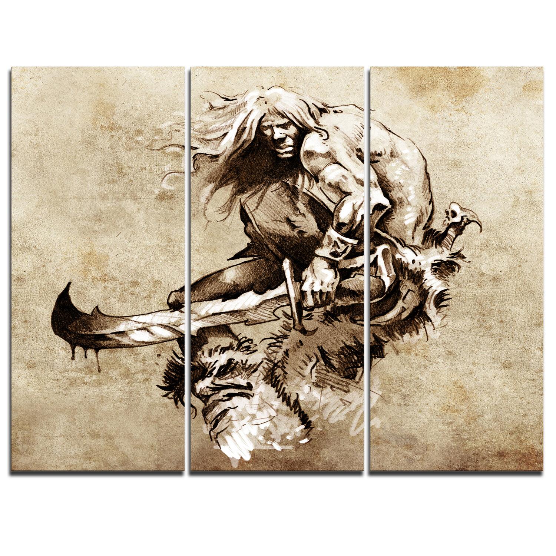 Designart Warrior Fighting Tattoo Art 3 Piece Graphic Art On Wrapped Canvas Set Wayfair
