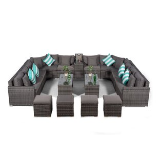 Villasenor Grey Rattan U Shape 10 Seat Sofa With 2 X 2 Stool Coffee Table + Drinks Cooler, Outdoor Patio Garden Furniture By Sol 72 Outdoor