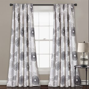 Totterdown Nature/Floral Room Darkening Thermal Rod Pocket Curtain Panels (Set of 2)