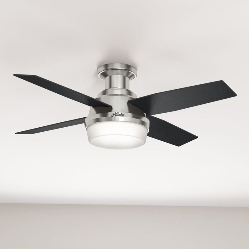 Hunter Fan 44 Dempsey Low Profile 4 Blade Ceiling With Remote Light Kit Included Reviews Wayfair