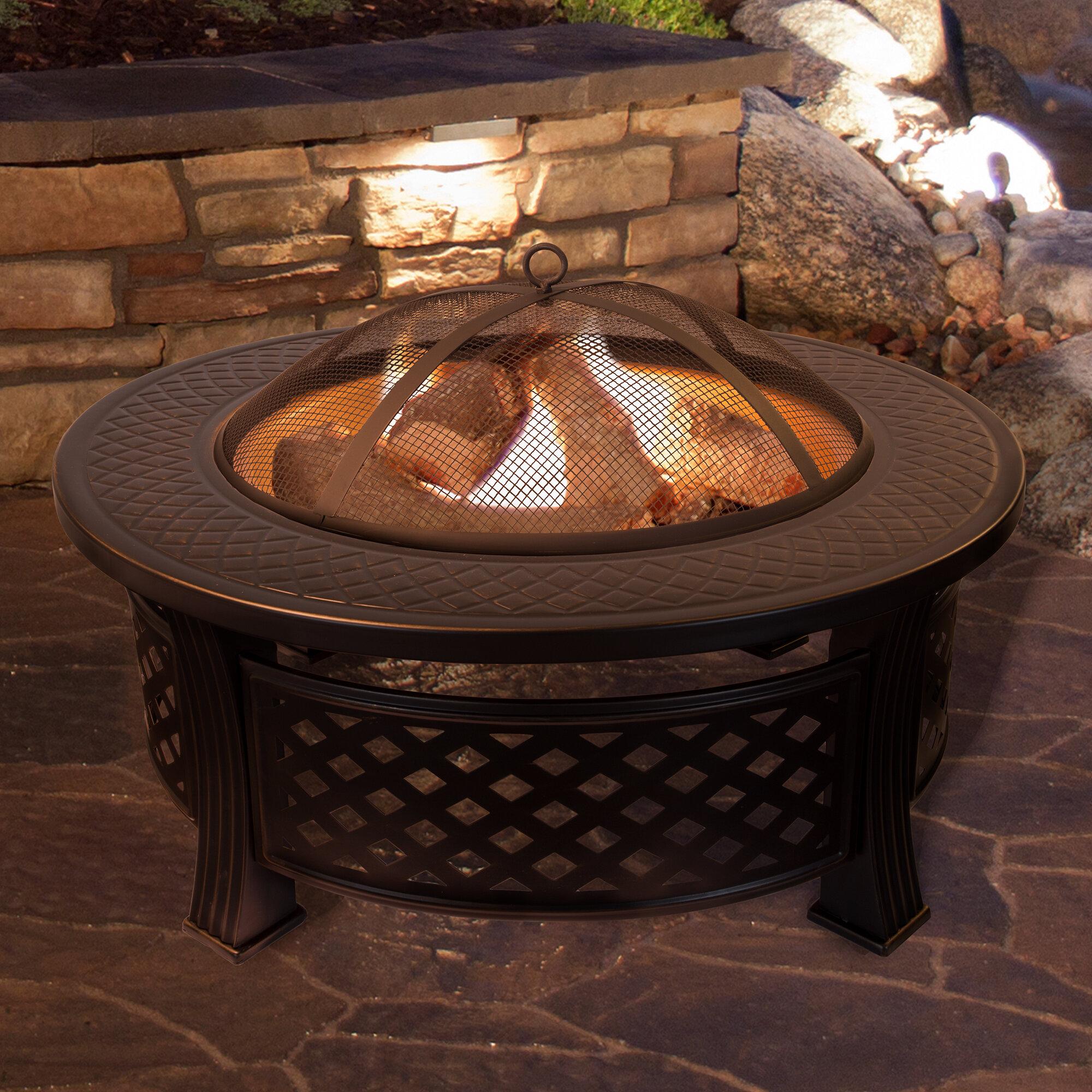 Millwood Pines Janes Steel Wood Burning Fire Pit Table Reviews Wayfair