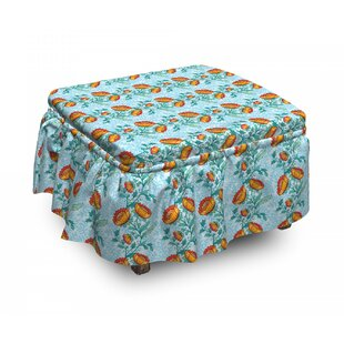 Ornate Blossoms Botany Ottoman Slipcover (Set Of 2) By East Urban Home