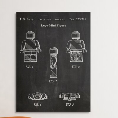 "Patent Prints """"Lego Mini Figure"""" Graphic Art on Wrapped Canvas Pingo World Size: 45"""" H x 30"""" W x 1.25"""" D -  COL1045-45"