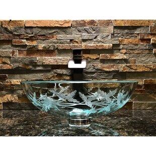Best Price Columbine Sink Glass Circular Vessel Bathroom Sink ByElegant Glass Engraving Studio