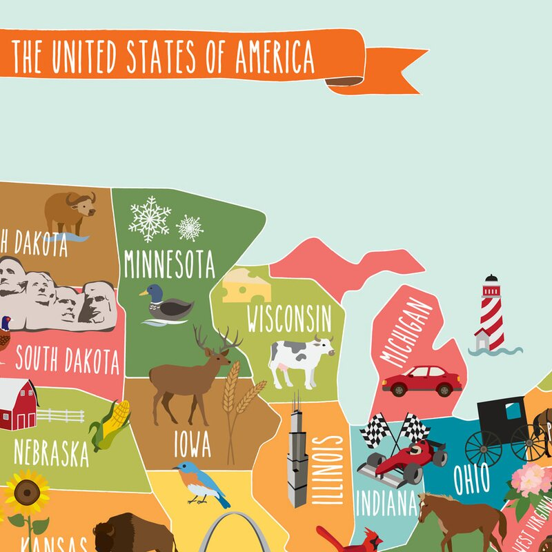 Simpleshapes Usa Map Poster Wall Decal Wayfair