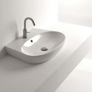 WS Bath Collections H10 Ceramic Oval Vessel Bathroom Sink with Overflow
