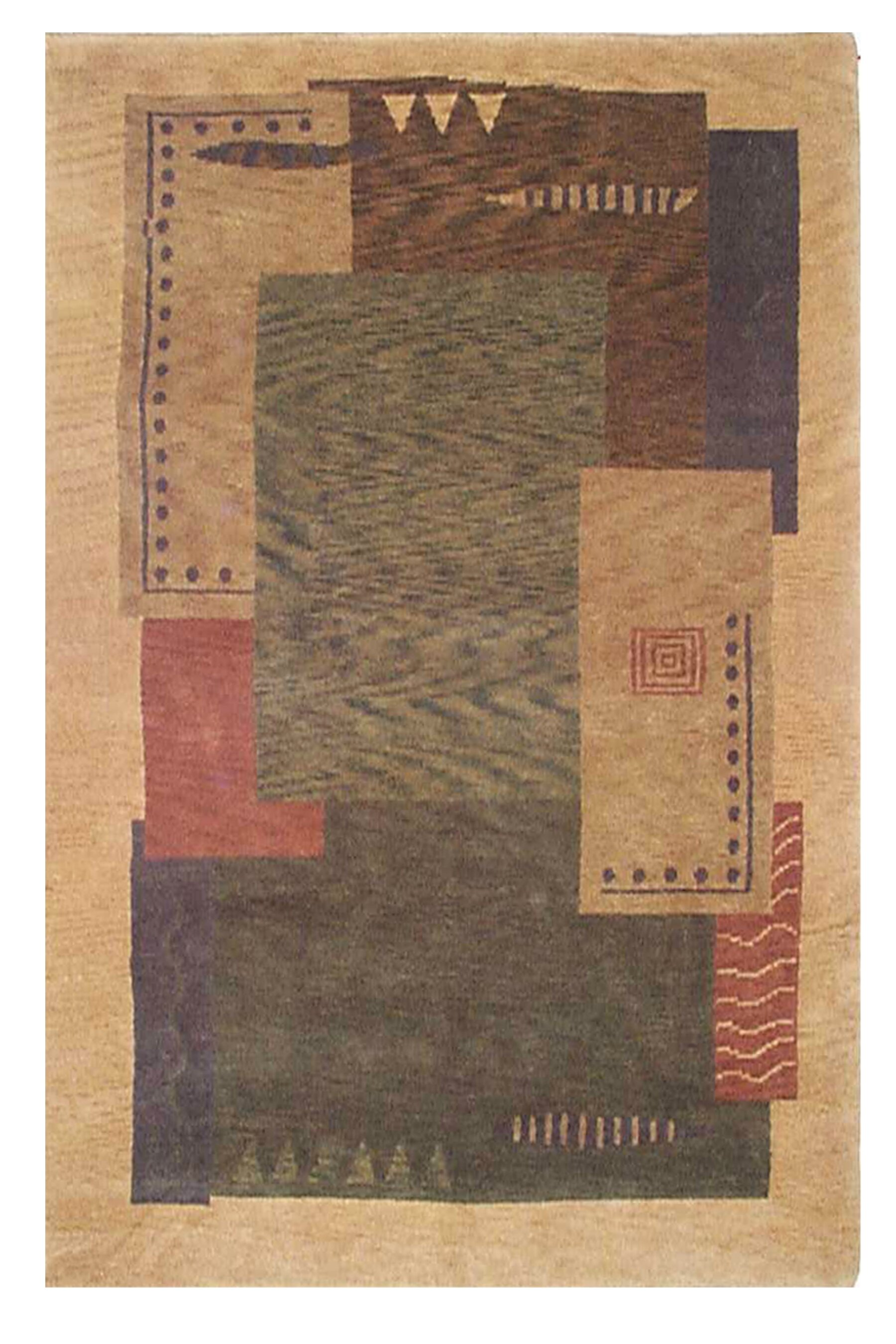 American Home Rug Co American Home Contemporary Abstract Handmade Tufted Wool Red Beige Green Area Rug Wayfair