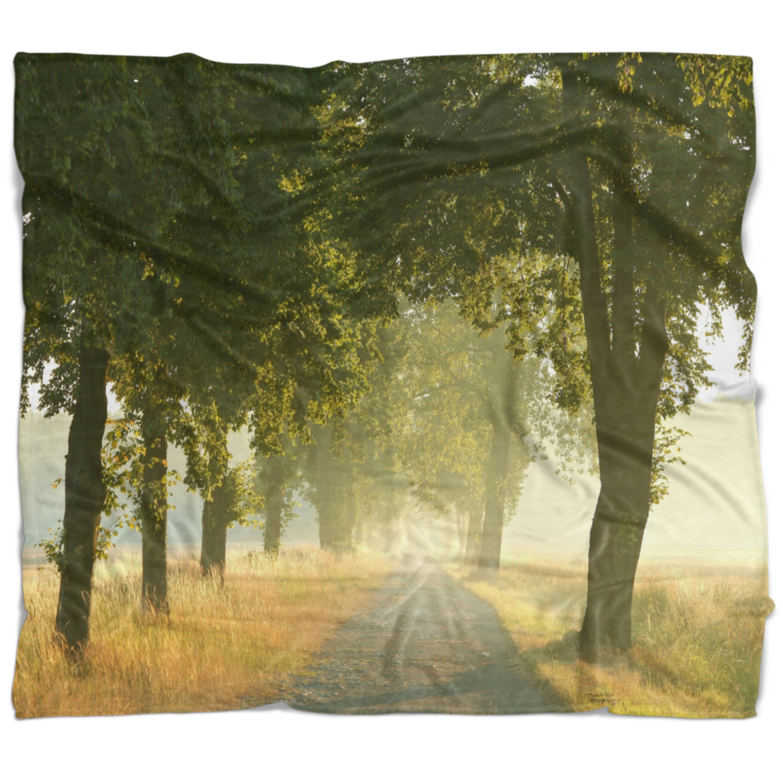 East Urban Home Photography Rural Road Under Big Trees Blanket Wayfair