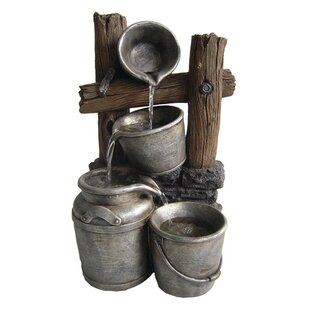 Beckett Fiberglass/Resin Pewter Metal Silver Buckets on a Fence Fountain