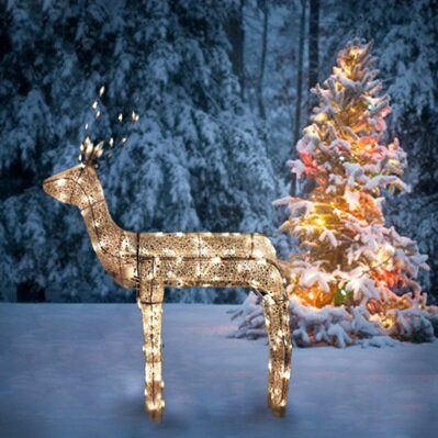 3 d glitter animated standing buck reindeer lighted christmas yard art decoration