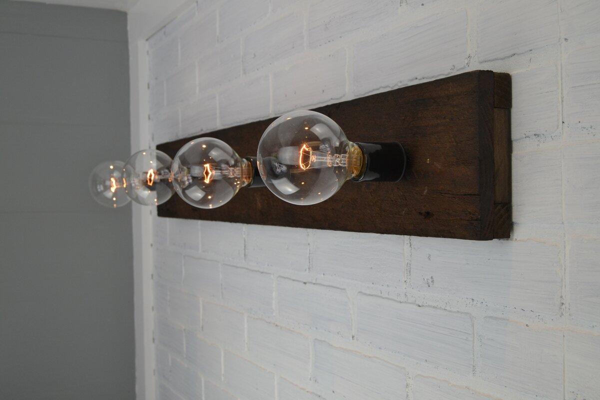 West ninth vintage wood 4 light bath bar reviews wayfair wood 4 light bath bar aloadofball Images