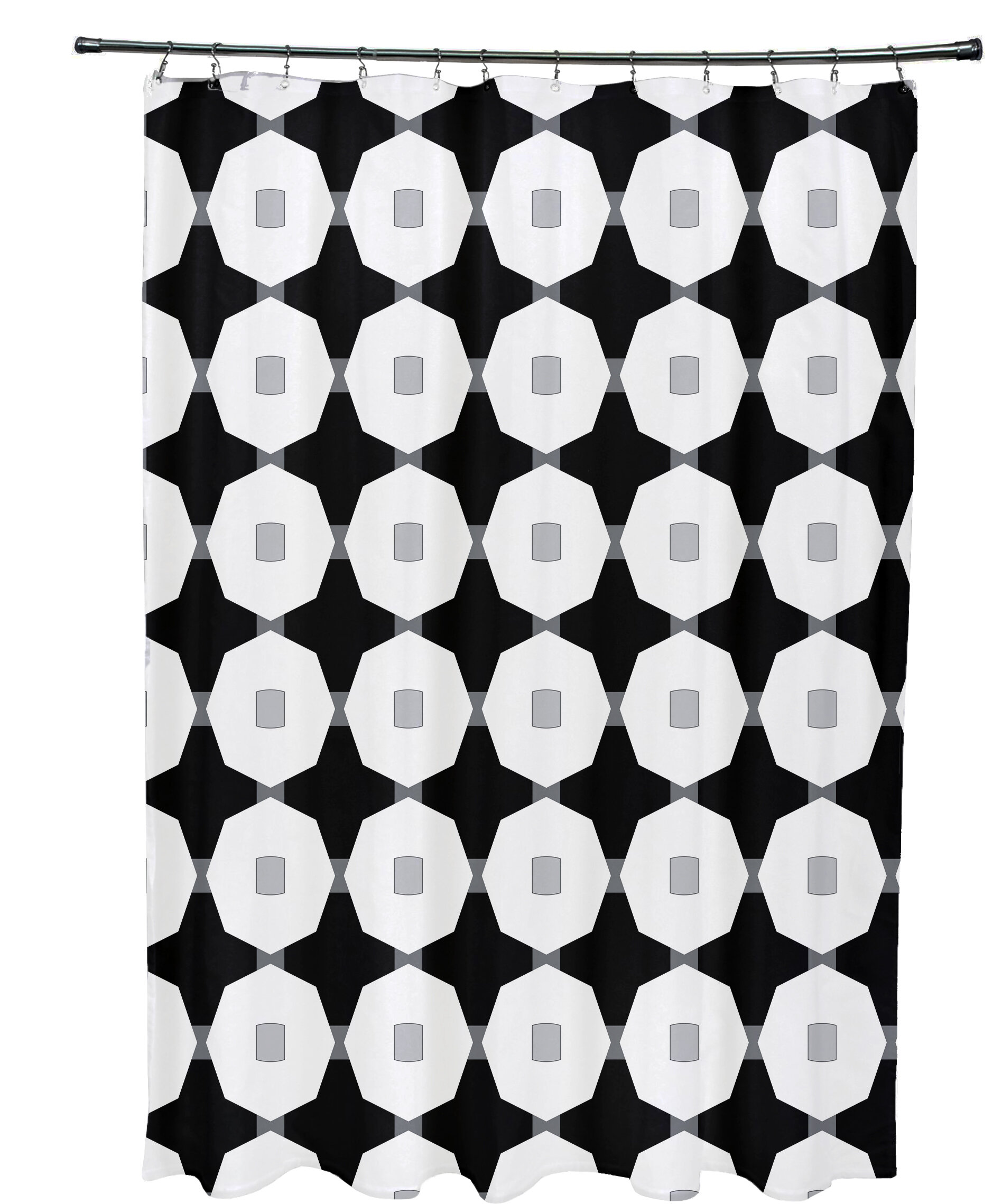 Ivy Bronx Waller Button Up Geometric Shower Curtain