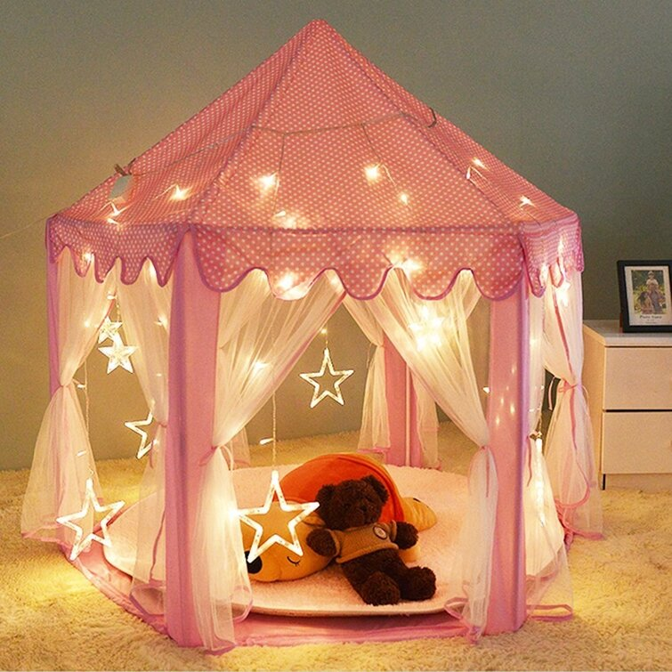 Kids Portable Princess Castle 4.5' x 4.5' Polyester Play Tent with Carrying Bag