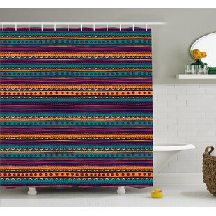 Affordable Sandy Tribal Striped Retro Aztec Pattern With Rich Mexican Ethnic Color Folkloric Print Shower Curtain ByEbern Designs