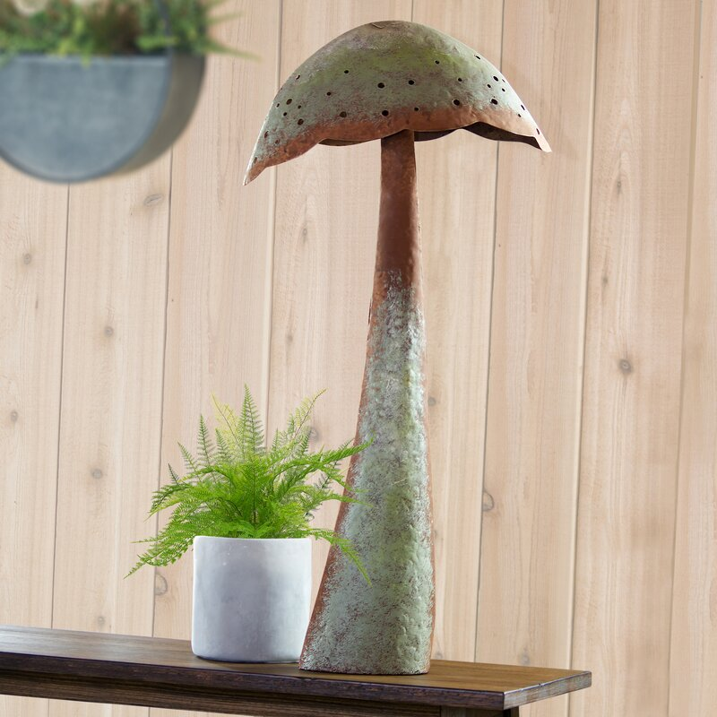 Wrought Iron Mushroom Sculpture Ture 100% Guarantee Decorative Arts