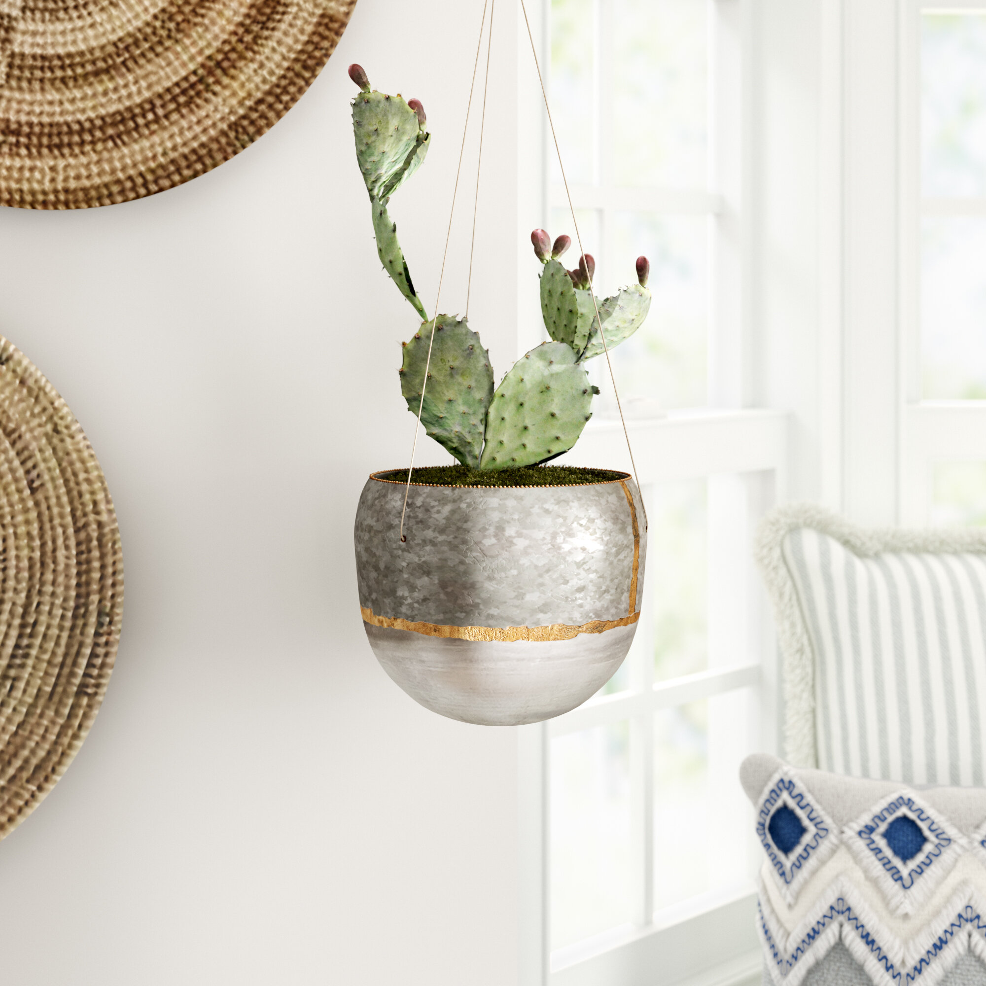 Mistana Beaulah Metal Hanging Planter Reviews Wayfair Ca