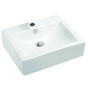 ANZZI Vitruvius Series Vitreous China Rectangular Vessel Bathroom Sink with Overflow