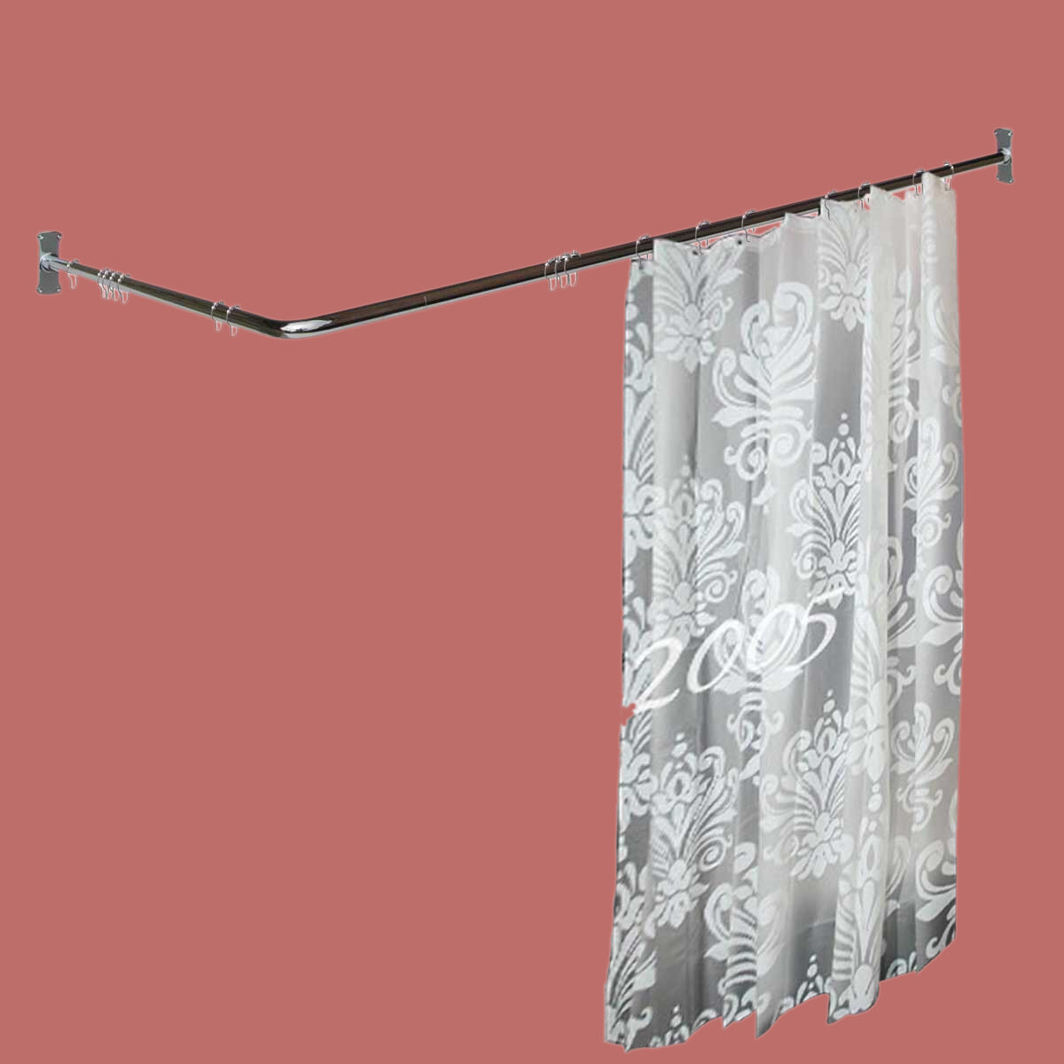 Two Sided 5 5 L Shaped Fixed Shower Curtain Rod