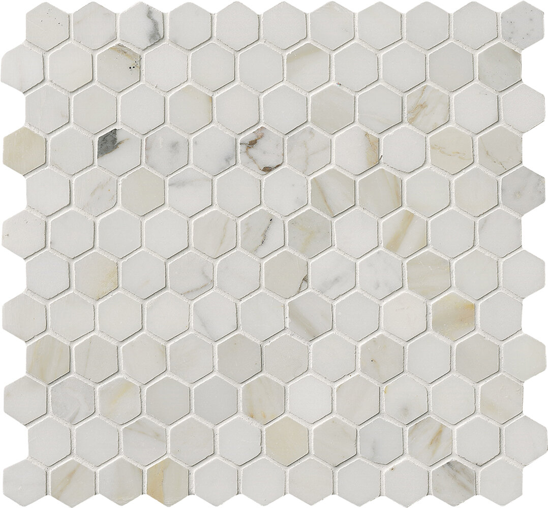 Msi Calacatta Gold Hexagon Mounted 1 X 1 Marble Mosaic In White Reviews