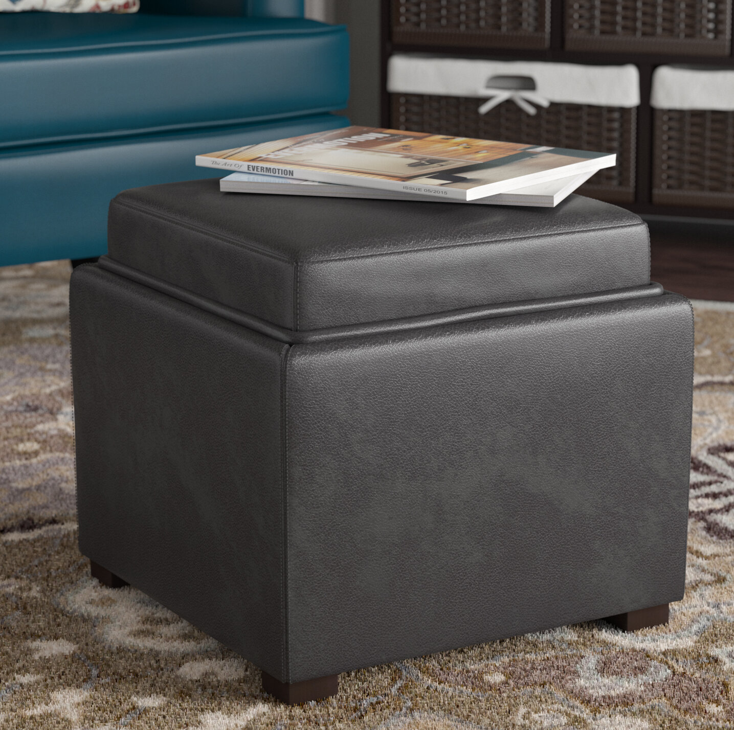 Marvelous Newfield Tray Leather Cube Storage Ottoman Alphanode Cool Chair Designs And Ideas Alphanodeonline