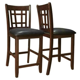 Daniels Lattice Back 24 Wooden Bar Stool (Set of 2) Alcott Hill