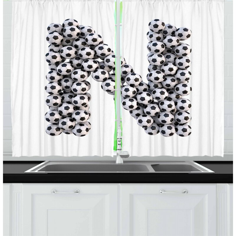 East Urban Home Letter N 2 Piece Kitchen Curtain Set Wayfair