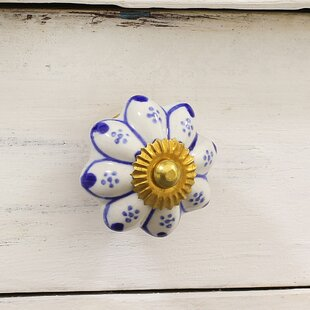 Hand Painted Floral 'Lapis Flowers' Round Knob (Set of 6)