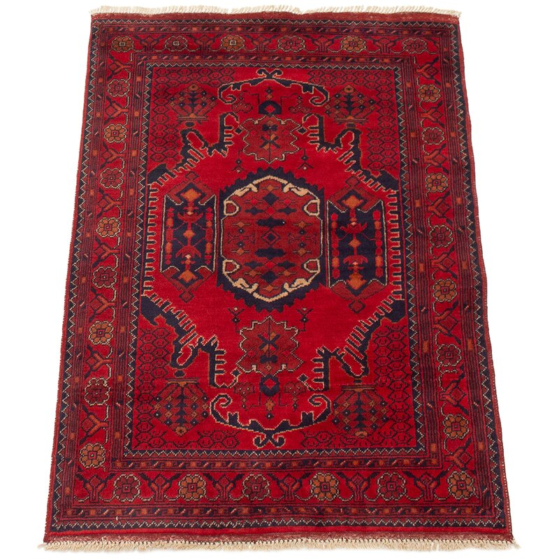 Isabelline One Of A Kind Alarick Hand Knotted 2010s Esari Turkman Red 3 3 X 4 9 Wool Area Rug Wayfair
