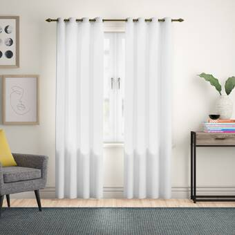 Andover Mills Musgrove Geometric Semi Sheer Grommet Curtain Panels Reviews Wayfair