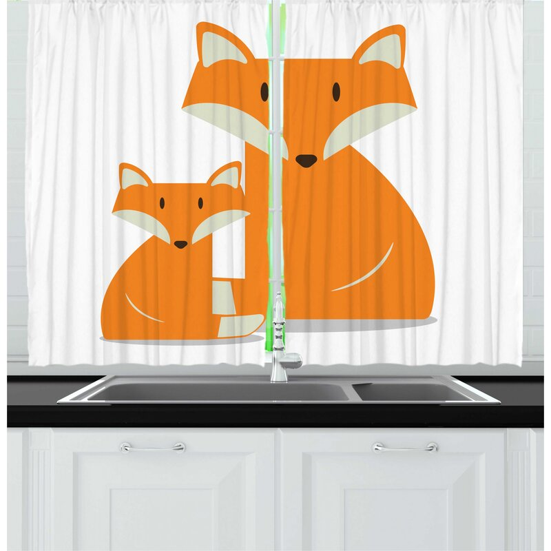East Urban Home 2 Piece Fox Simple Nursery Graphic With Wild Mammal Animal Mother And Baby Kitchen Curtain Set Wayfair