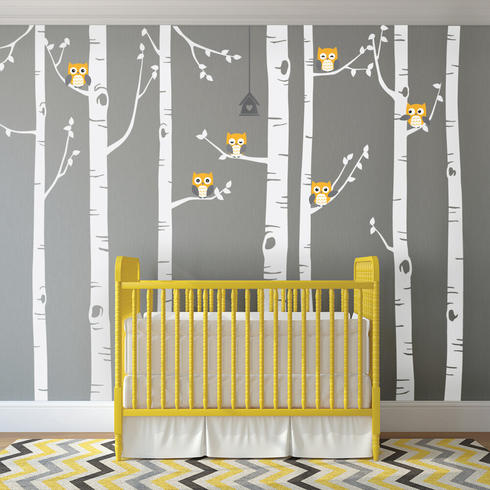 SimpleShapes Birch Tree with Owl Wall Decal & Reviews | Wayfair