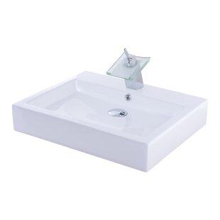 Novatto Ceramic Rectangular Vessel Bathroom Sink with Faucet