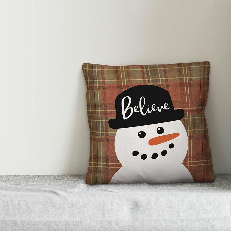 The Holiday Aisle Kintzel Believe Snowman Throw Pillow Wayfair