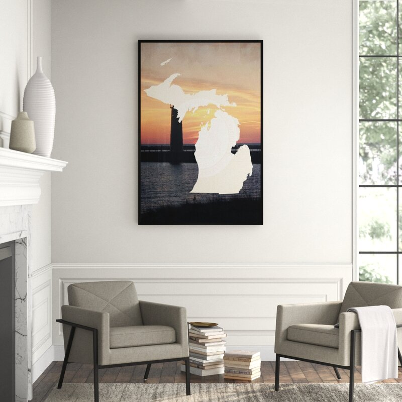 Jbass Grand Gallery Collection Michigan Logo Framed Graphic Art On Canvas Perigold
