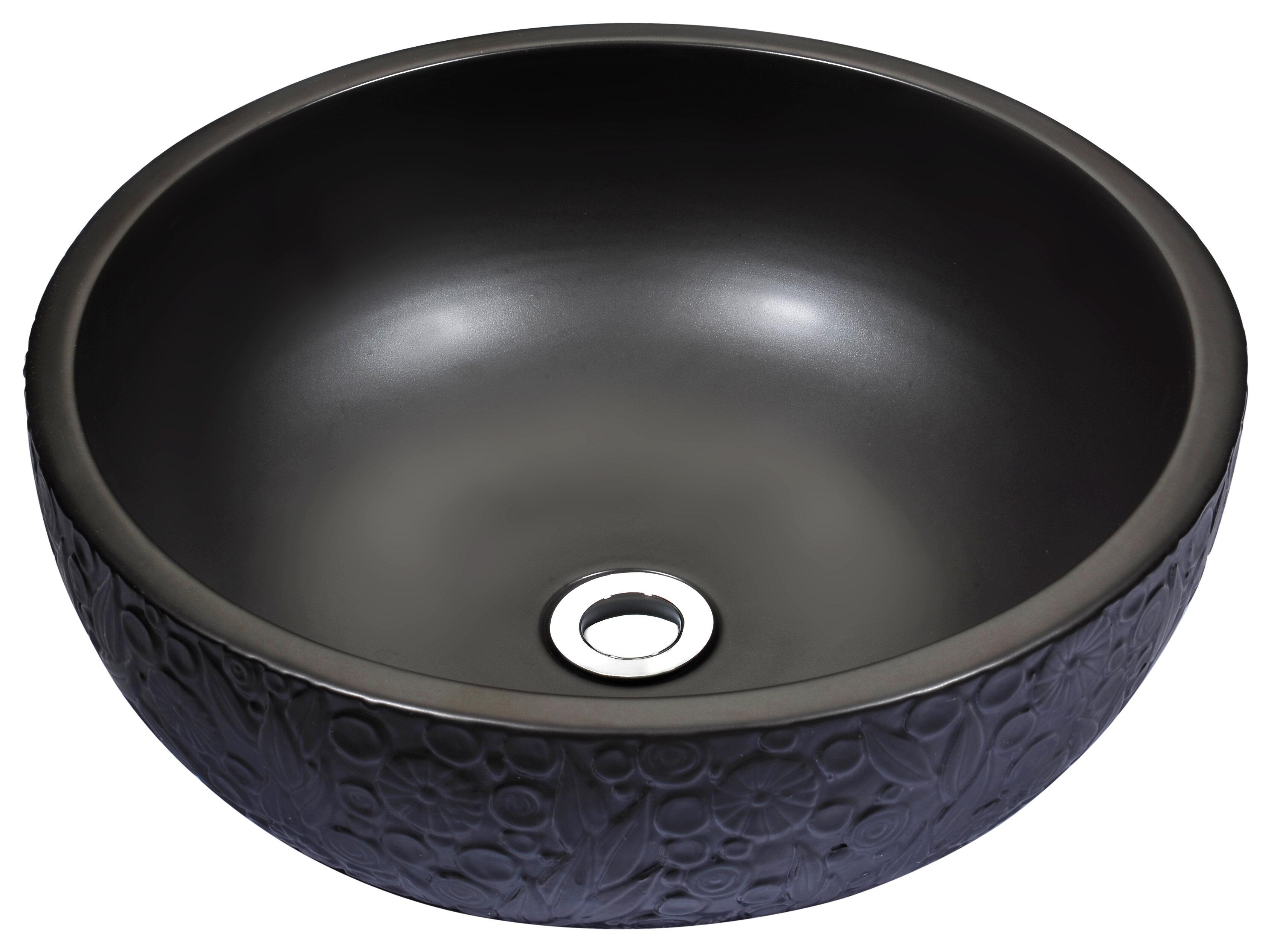 Anzzi Stellar Series Black Ceramic Circular Vessel Bathroom Sink Perigold