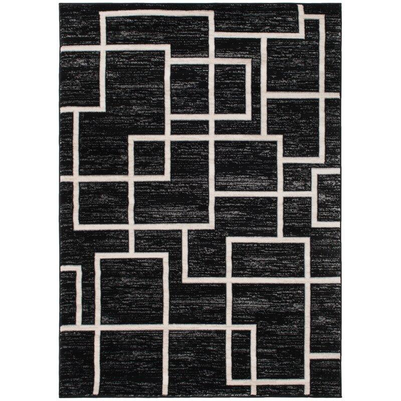 Ebern Designs Finian Geometric Black Area Rug Wayfair