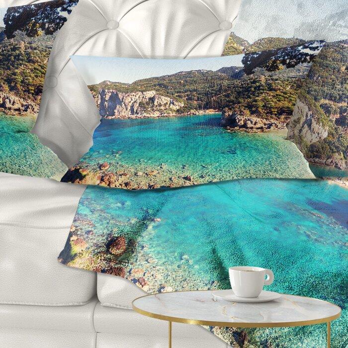 East Urban Home Rocky Beach With Turquoise Water Lumbar Pillow Wayfair