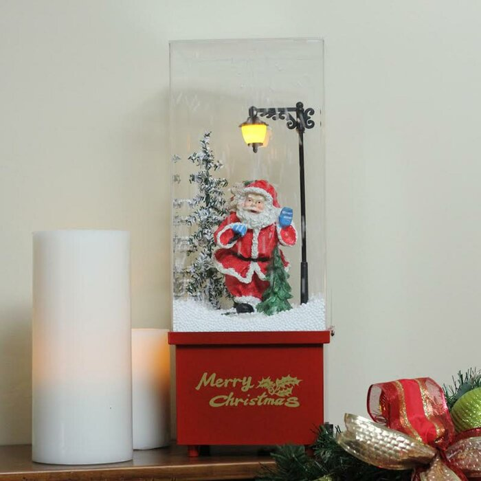 Snowing Christmas Tree.Lighted Musical Santa Claus Snowing Christmas Table Top Snow Dome