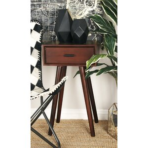 Wood End Table With Storage
