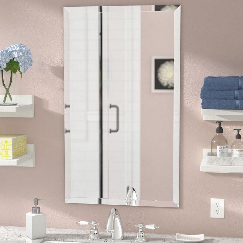 Corrinne Frameless Beveled Rectangular Wall Mirror