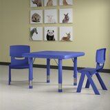 Plastic 3 Piece Adjustable Height Square Activity Table and Chair Set