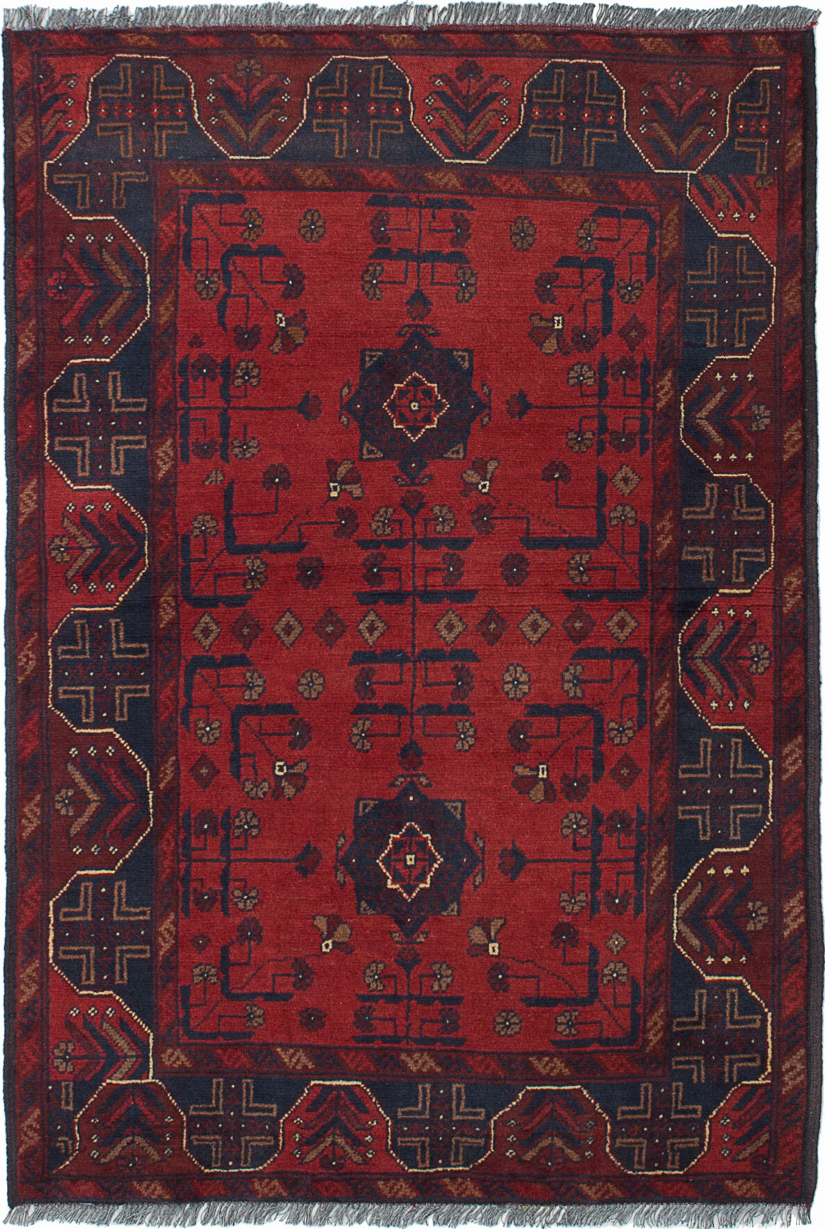 Isabelline One Of A Kind Alarick Hand Knotted 2010s Esari Turkman Red 3 4 X 4 11 Wool Area Rug Wayfair