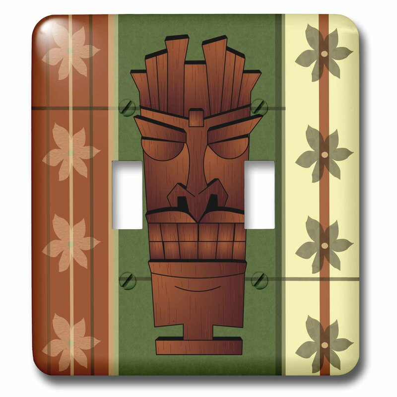3drose Wood Grain Tropical Tiki Mask 2 Gang Toggle Light Switch Wall Plate Wayfair