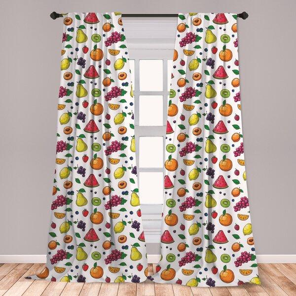 East Urban Home Fruits Floral Room Darkening Rod Pocket Curtain Panels Wayfair