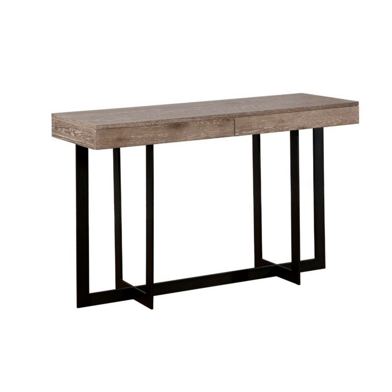 17 Stories  Gunnar Industrial Solid Wood Console Table
