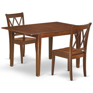 Krajewski 3 Piece Extendable Solid Wood Dining Set