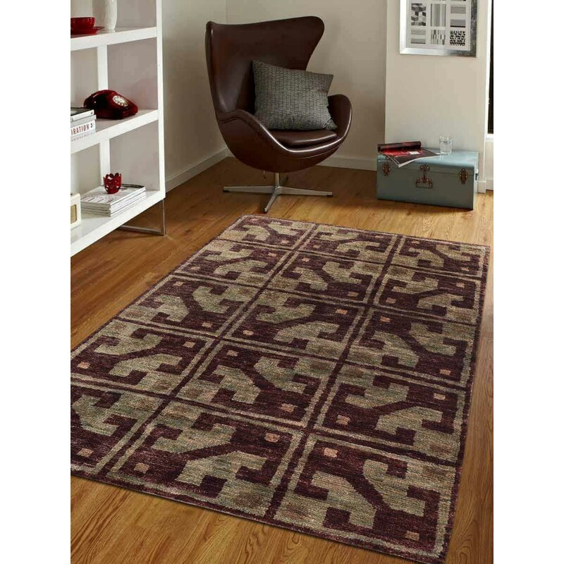 Bungalow Rose Crayton Geometric Hand Knotted Brown Beige Area Rug Wayfair